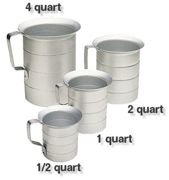 COMMERCIAL ALUMINUM LIQUID MEASURE / MEASURING CUP SET (Aluminum Liquid Measure)