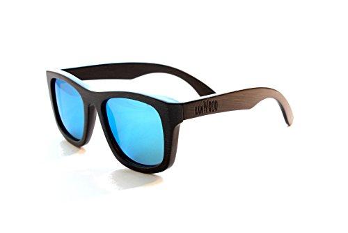 RawWood Lakers Polarized Bamboo Wood Sunglasses (Black/Blue, 54) (Raw Eyewear)