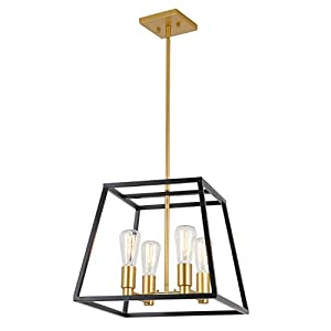 Artika CAR15-ON Carter Square 4 Pendant Light Fixture, Kitchen Island Chandelier, with a Steel Black and Gold Finish