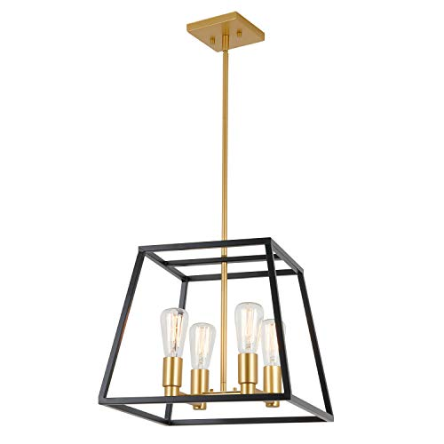 (Artika CAR15-ON Carter Square 4 Pendant Light Fixture, Kitchen Island Chandelier, with a Steel Black and Gold)