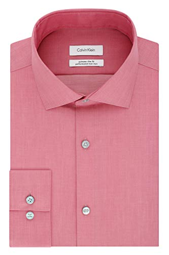 Calvin Klein Men's Dress Shirts Xtreme Slim Fit Non Iron Herringbone, Antique Rose, 13.5