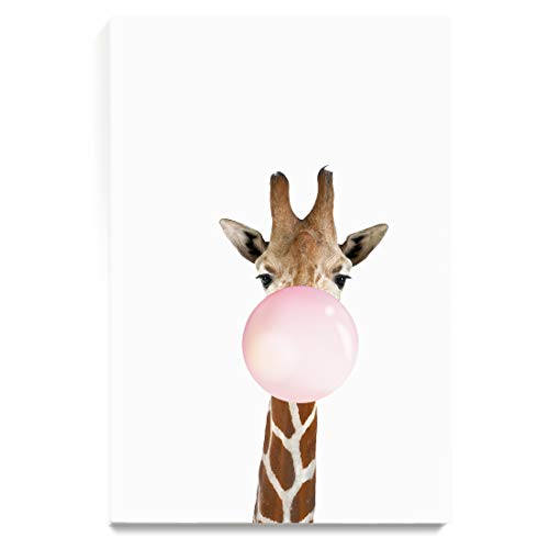 Bubbles Wall Art - CJ Studio Wall Art Paintings Giraffe Blowing Bubble Gum for Bedroom Living Room Dinning Room Decor,Stretched and Ready to Hang, 16