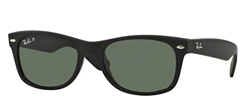 Ray-Ban RB2132 (622/58) Black Rubber/Crystal Green Polarized 52mm Sunglasses Bundle with original case, cloth, booklet and accessories (6 items)