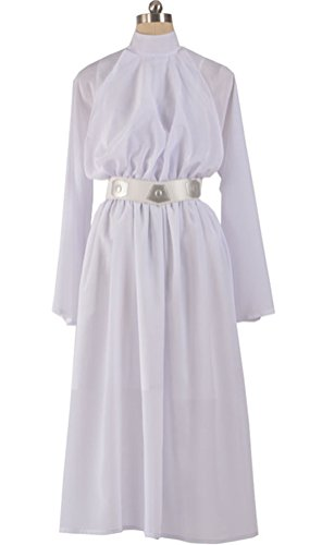 (COSKING Princess Leia Costume for Women, Deluxe Halloween Cosplay Dress White)