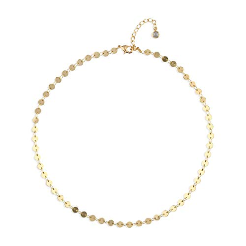 (Fettero Dainty 14K Gold Filled Sequin Choker Handmade Boho Disc Coin Chain Necklace)