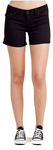 True Religion Women's Basic Midcut Off Denim Shorts w/Flaps in Black (25) (Shorts Womens Flap)