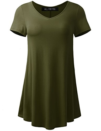 A.F.Y All For You Women's Short Sleeve V-Neck Flare Tunic Dark Olive Medium (Best Type Of Curry)