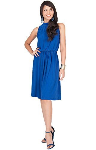 KOH KOH Petite Womens Sleeveless Bridesmaid Halter Neck Flowy Wedding Party Work Knee Length Day Formal Dressy Summer Casual Sexy Sundress Mini Midi Dress Dresses, Cobalt/Royal Blue XS (Womens Mini Day Dress)