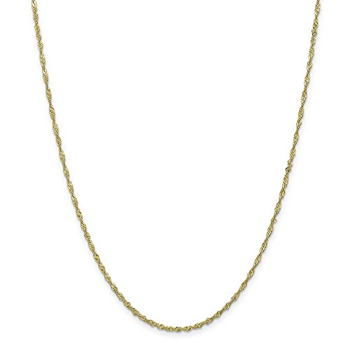 1.7mm 10k Yellow Gold Sparkle Singapore Chain Necklace - 24 Inch (Gold Sparkle Singapore Chain)