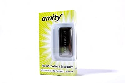 Amity Battery Extender (5600mAh) (AMBE-5600BK: Black) - Portable External Battery with LED Flashlight. Works with iPhone 5, 4S, 4, 3GS, iPod Touch / iPad, iPad , iPad, HTC One S, X, X+, Sensation, Thunderbolt, Rezound, Evo / Motorola Atrix 1 & 2/ Nokia N9