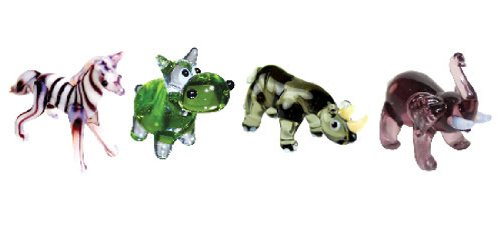 Looking Glass Miniature Collectible - Zebra / Hippo / Rhino / Elephant (4-Pack) (Glass Figurines Collectibles)