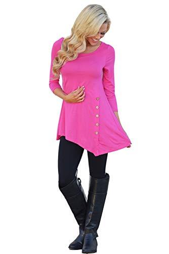 Lunghe Moda Shirt Sweatshirt Unita Top Tinta Cappuccio Ufficio Inverno Basic Donna Scuro Slim Asimmetrica Senza Tumblr Maniche Girocollo Pullover Ragazza Camicetta T Bottoni Blusa Felpe Maglia Rosa Autunno con Fq8wHXwI