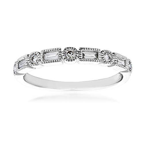 (Perfect Match 1/4 ct. tw. Round & Straight Baguette Alternating Diamond Stackable Anniversary Band in 14K White Gold - PR0928D-14W)
