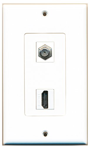 RiteAV - 1 x Cable TV Coax and 1 x HDMI Port Wall Plate Decorative Type - White