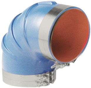 Trident Marine 290V4000-S/S Molded Silicone Wet Exhaust 90-Degree Elbow with Clamps, 4