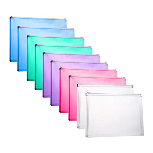 - FJCA 10 Packs Plastic Zip Envelopes Letter Size Holder File Document Receipt Envelope Folders Assorted Color Office Supplier