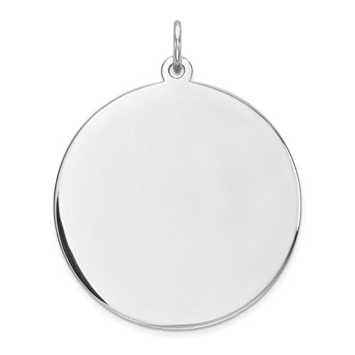 Sterling Silver Plated Finish Engravable Round Polished Disc Charm (33 mm x 26 mm) - Engravable Circle Charm Pendant