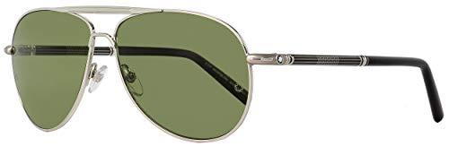 Mont Blanc 512 16R Silver and Black 512S Aviator Sunglasses Polarised Lens ()
