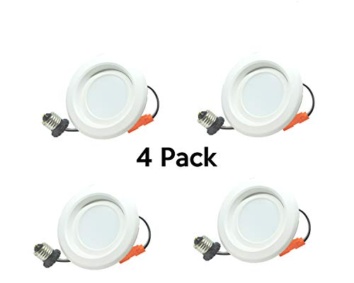 (6 inch 13W Recessed Downlight, LED Dimmable Retrofit Kit, Smooth Trim,3000K, UL Listed, Energy Star, 1200 Lumens, 5 Year Warranty, 4 Pack)