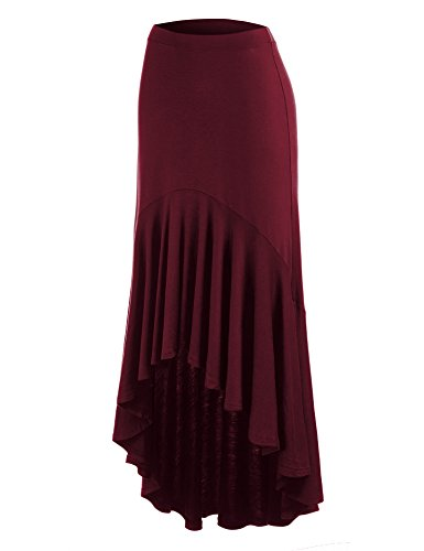 MBJ WB1132 Womens Asymmetrical High Low Ruffle Hem Skirt L WINE