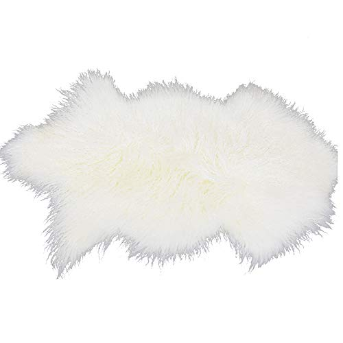 Real Mongolian Lamb Fur Rug Soft Plush Curly Sheep Skin Carpet Luxurious Home Decorative Foot Fur Elegant Plain Wool Foot Carpet for Living Room or Bedroom(19.7 X 35.5inch Natural) Fantastic Gift by Lichao