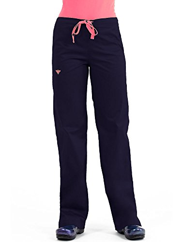 Med Couture Drawstring Signature Scrub Pants for Women, New Navy/Apricot, Medium Tall (Best Scrubs For Athletic Build)