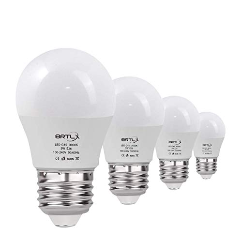 BRTLX G45 E26 5W LED Bulbs Mini Globe Warm White 3000K 45W Equivalent 220°400lm Non Dimmable 4 Pack