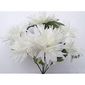 "13"" Fuji Mum Bush Artificial Silk Wedding Craft Flowers Bouquet Home Party Decoration 6 Mums (Cream) 47"