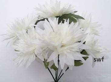13-Fuji-Mum-Bush-Artificial-Silk-Wedding-Craft-Flowers-Bouquet-Home-Party-Decoration-6-Mums-Cream