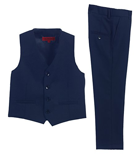 (Gioberti 2 Piece Kids Boys Dark Royal Blue Vest and Pants Formal Set, 4T)
