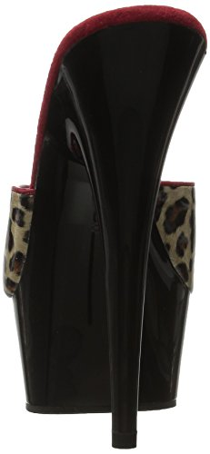 Pleaser DELIGHT-601-6 Tan Leopard Print Faux Leather/Blk UK 8 (EU 41) Lx14nk