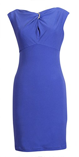 Muse NEW Violet Blue Purple Solid Twist Front Keyhole Women's Sheath Dress 4, 14, 10 (14) Twist Front Keyhole