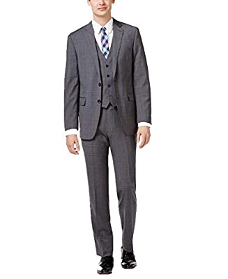 Calvin Klein Men?s Big & Tall Slim-Fit Windowpane Plaid Vested Suit (Gray/Blue, 42)