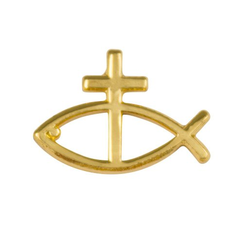 Christian Fish & Cross Lapel Pin (Set of 3) Jesus Fish Gold by Sterling (Jesus Fish Pin)