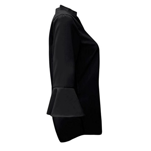 T V Manches Basique Tee Col Longues Tunique Casual Casual Noir Chic Blouse Hauts Tops Femmes Shirt Shirt Mode zZ44w