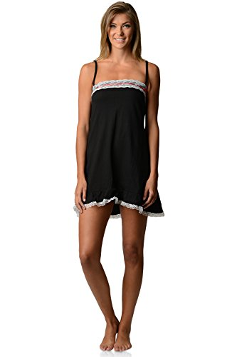 Casual Nights Women's Jersey Lace Trim Chemise Nightie - Black - Large
