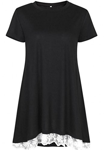 She's Style Women's Cotton Short Sleeve Lace Scoop Neck A-Line Tunic Blouse Tops Black Size XL by She's Style