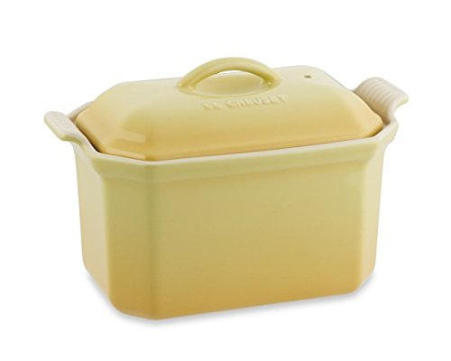 Le Creuset Heritage Stoneware 3/4-Quart Pate Terrine Dish with Press, Color: Yellow Quince, 0.8L 27oz