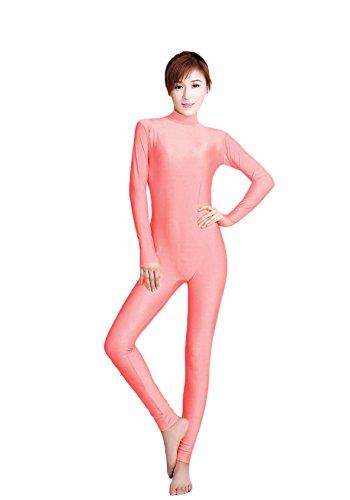 Girl Acrobat Costume (WOLF UNITARD Women's Unitard Lycra Bodysuit Dance Wear Large Peach)