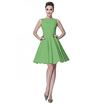 Heroecol Womens Vintage 1950s Dresses Oblong Neck Sleeveless 50s 60s Style Retro Swing Cotton Dress Size XS Color Green