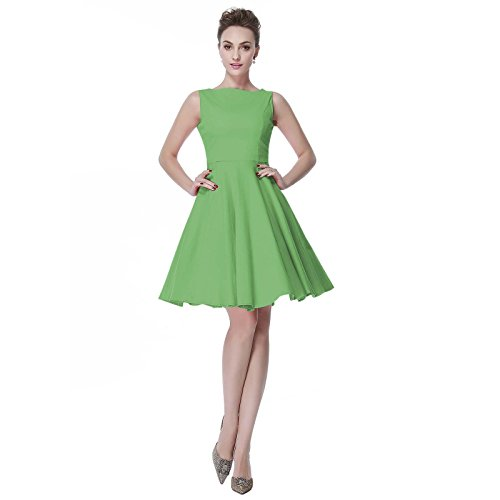 [Heroecol Womens Vintage 1950s Dresses Oblong Neck Sleeveless 50s 60s Style Retro Swing Cotton Dress Size XL Color] (1940s Dance Costumes)