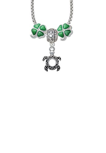 Small Open Sea Turtle Good Luck and Clover 3 Bead Necklace