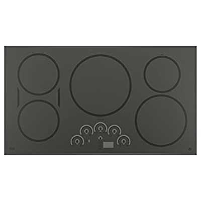 "GE Cafe CHP9536SJSS 36"" Built-in Induction Cooktop with Five Elements Glide Touch Controls Stainless Steel Clad Aluminum Griddle Keep-Warm Setting and Kitchen Timer in Flagstone"