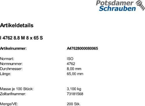 200 Inbus Zylinderkopfschrauben ISO 4762 8.8 schwarz M8x65