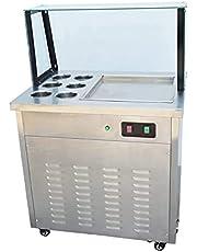TECHTONGDA Fried Ice Cream Machine Constant Temperature Single Flat Pan with Six Buckets Yogurt Roll Machine Frozen Maker Summer