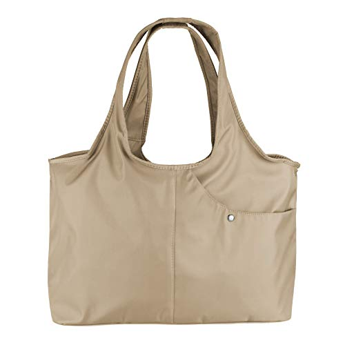 ZOOEASS Women Fashion Large Tote Shoulder Handbag Waterproof Tote Bag Multi-function Nylon Travel Shoulder (Khaki)