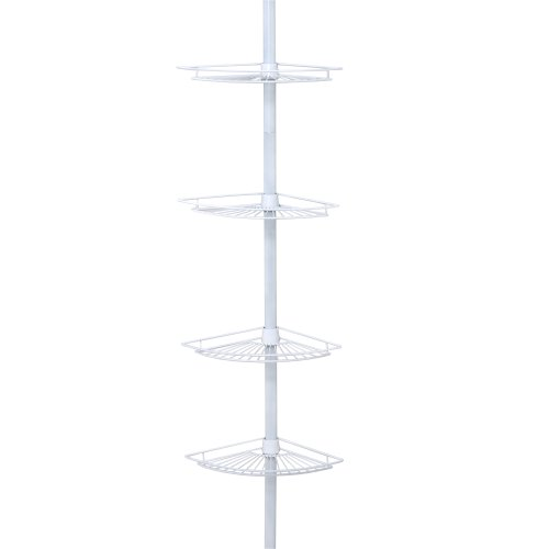 Zenna Home 2114W, Tension Corner Pole Caddy, White