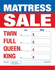 "C80MAS Furniture Mattress Sale Twin-Full-Queen-King - Large Price Cards - Sale Tags - 8 1/2"" x 11"" (100 Pack) Business Store Signs"