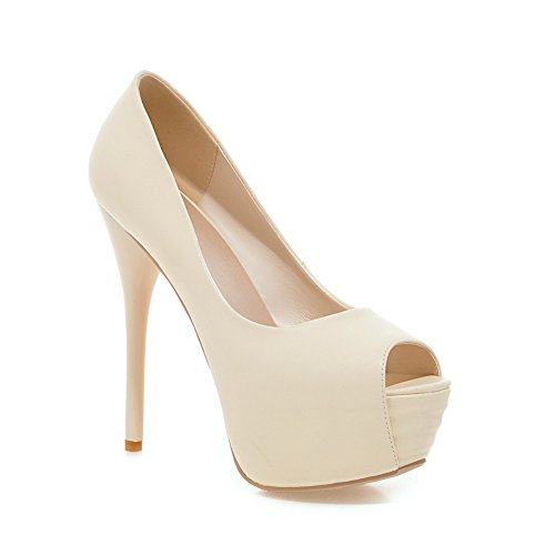 Uretano Plataforma Peep Womens Beige adeesu stilettos Spikes shoes Toe pumps X76wxvYOq