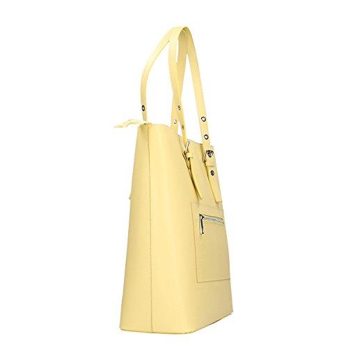 Chicca Borse Bolso de hombro de Piel genuina 36x38x14.5 Cm amarillo